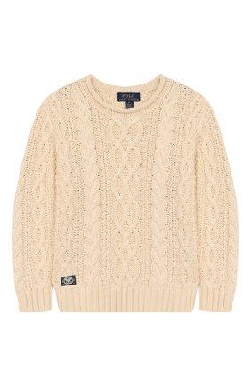 Детский хлопковый пуловер POLO RALPH LAUREN бежевого цвета, арт. 321712073 | Фото 1