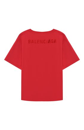 Детская хлопковая футболка BALENCIAGA красного цвета, арт. 528617/TDV30 | Фото 2