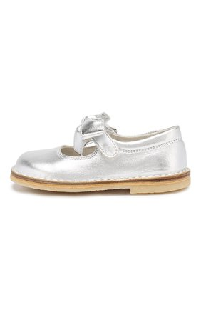 Детские кожаные туфли с застежкой велькро IL GUFO серебряного цвета, арт. G202/VITELL0 LAMINAT0/23-26 | Фото 2