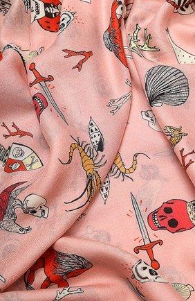 Шаль с принтом и необработанным краем Alexander McQueen розовый | Фото №2