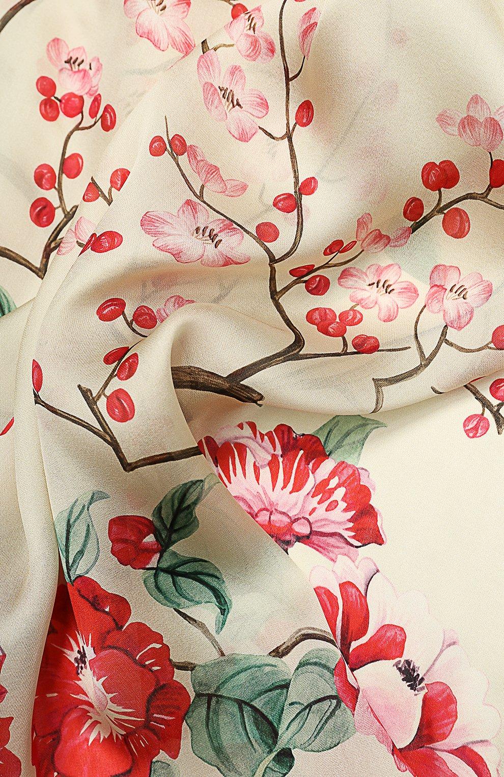 Шелковый шарф с принтом Alexander McQueen кремовый | Фото №2