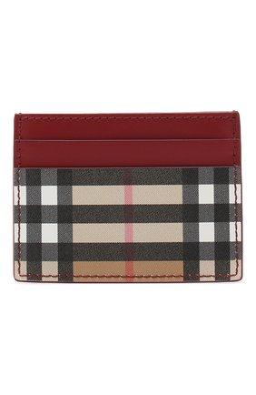 Женский кожаный футляр для кредитных карт BURBERRY красного цвета, арт. 4080007 | Фото 1