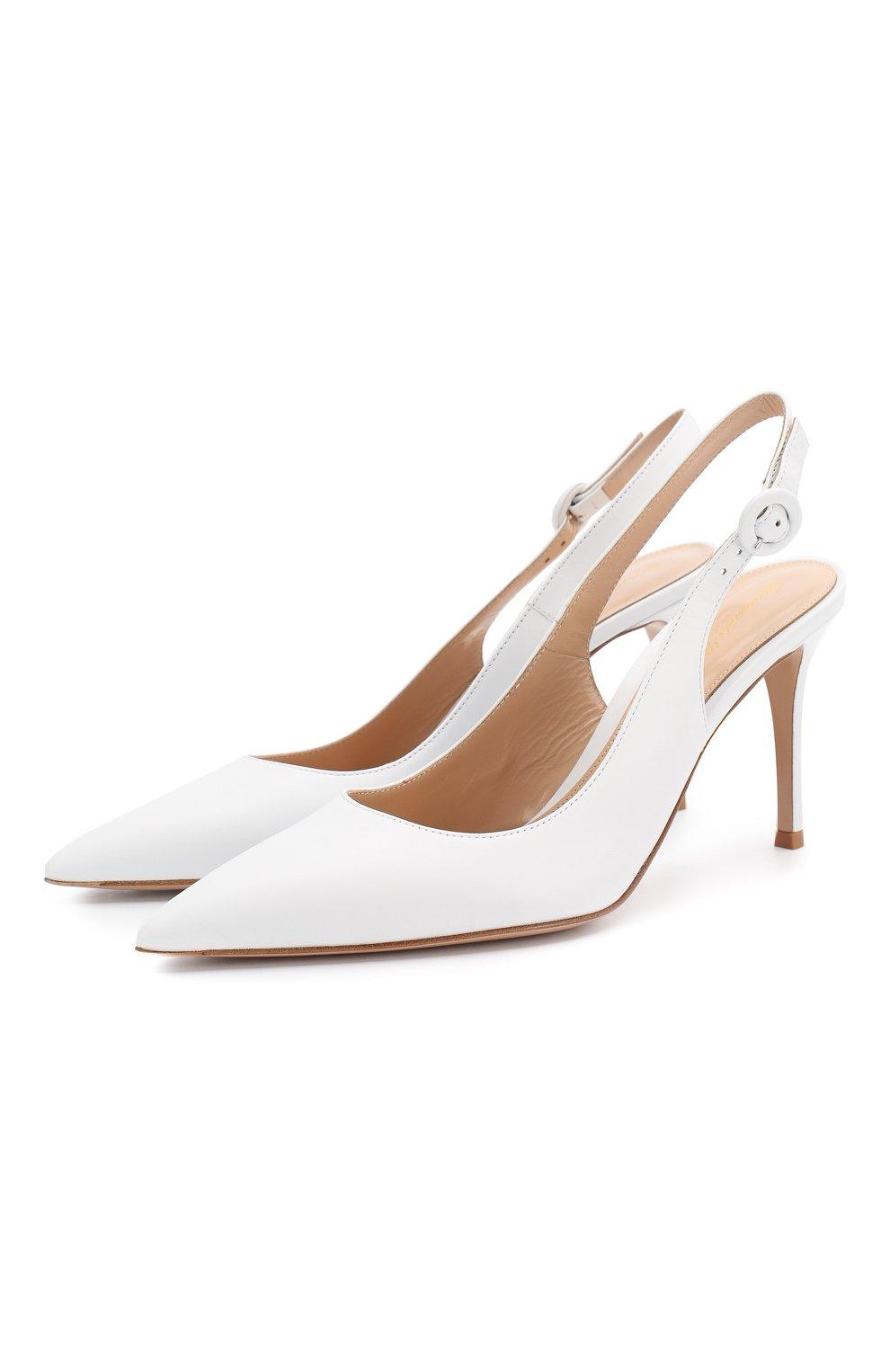 Кожаные туфли Anna  Gianvito Rossi белые | Фото №1