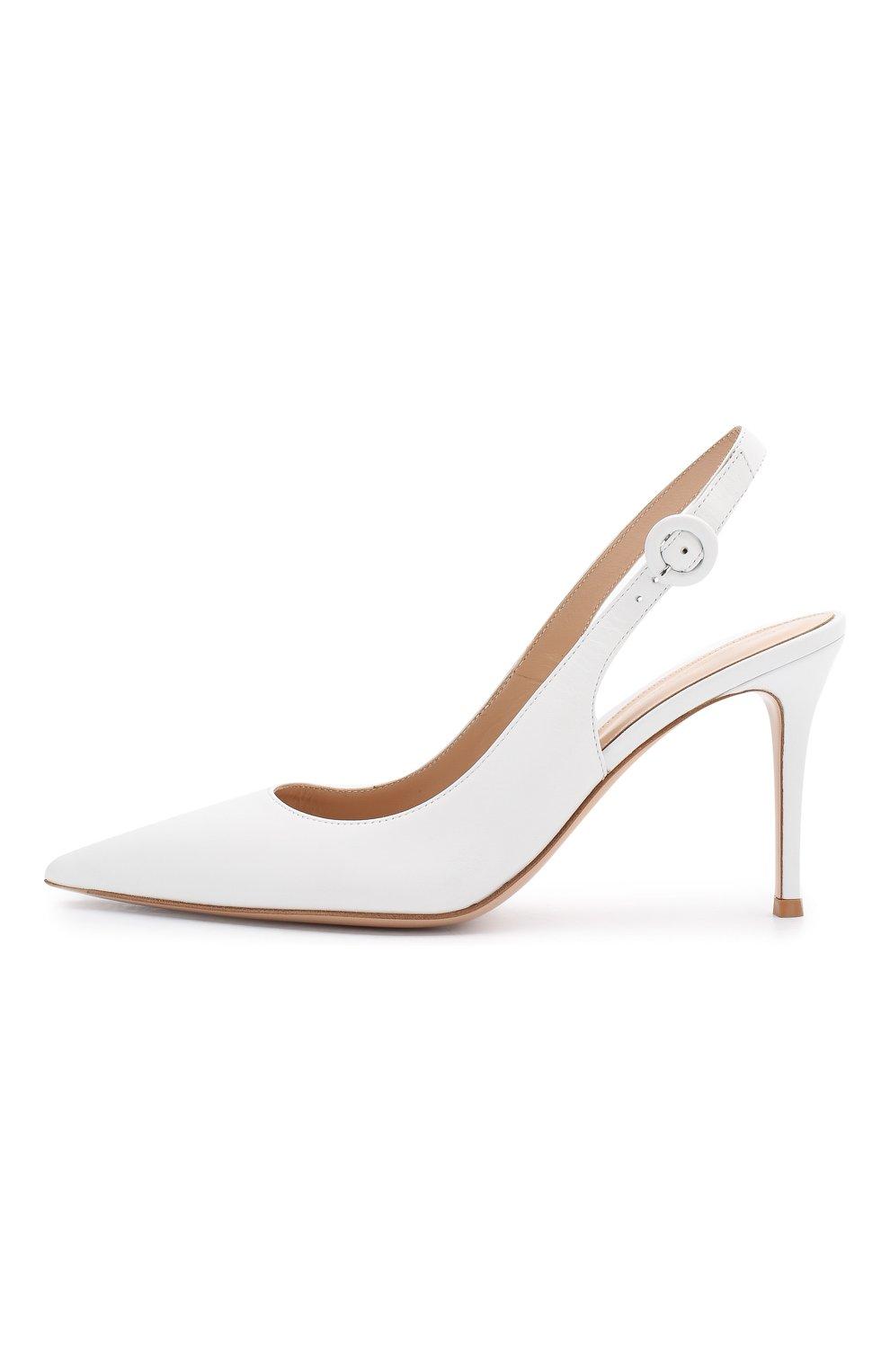 Кожаные туфли Anna  Gianvito Rossi белые | Фото №3