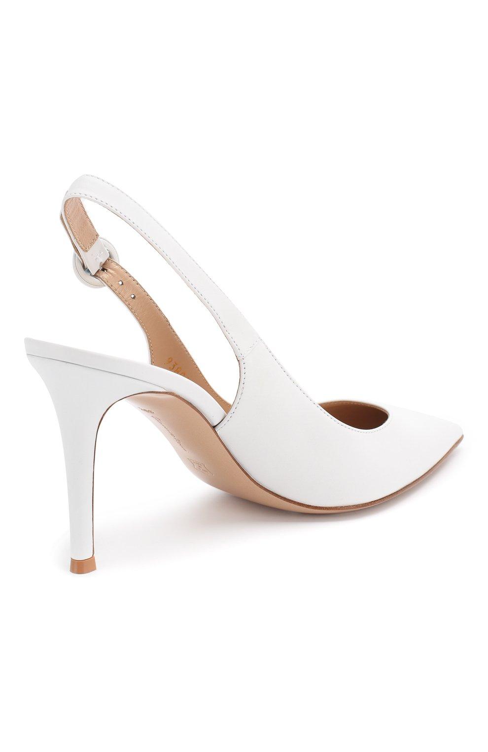 Кожаные туфли Anna  Gianvito Rossi белые | Фото №4