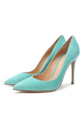 Женские замшевые туфли gianvito 105 GIANVITO ROSSI бирюзового цвета, арт. G28470.15RIC.CAMMALE | Фото 1