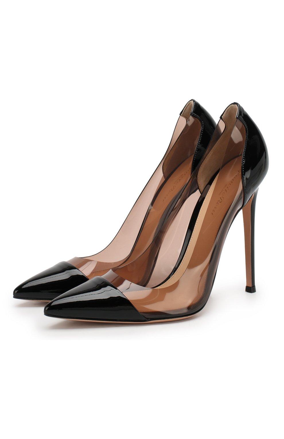 Лаковые туфли Plexi  Gianvito Rossi черные | Фото №1