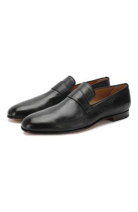 Мужские кожаные лоферы  BRIONI черного цвета, арт. QFCM0L/P8714 | Фото 1