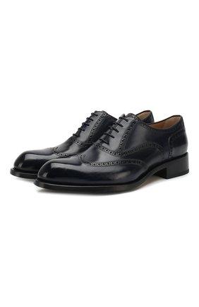 Мужские кожаные оксфорды BRIONI темно-синего цвета, арт. QEDS0N/P6757 | Фото 1