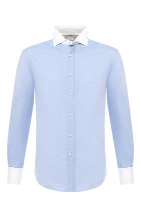 Мужская хлопковая сорочка с воротником кент BRUNELLO CUCINELLI синего цвета, арт. M0UC41704 | Фото 1