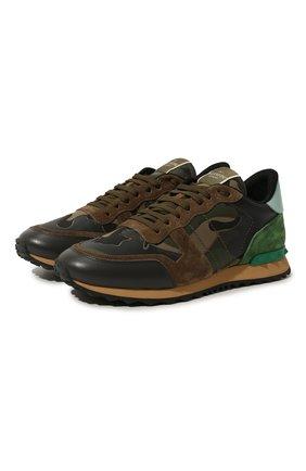 Мужские комбинированные кроссовки valentino garavani rockrunner camouflage VALENTINO хаки цвета, арт. RY2S0723/TCC | Фото 1