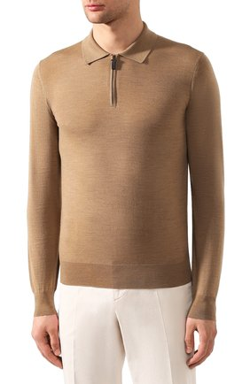 Мужское шерстяное поло BRIONI бежевого цвета, арт. UMS10L/0ZK18   Фото 3