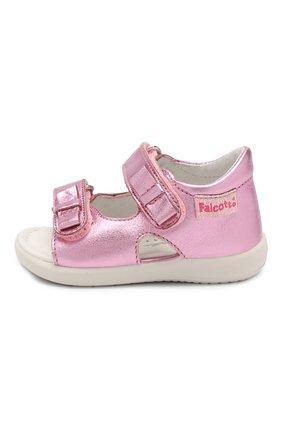 Детские кожаные босоножки с застежкой велькро FALCOTTO розового цвета, арт. 0011500771/02 | Фото 2