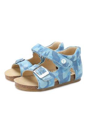 Детские кожаные сандалии с застежкой велькро FALCOTTO голубого цвета, арт. 0011500737/14 | Фото 1
