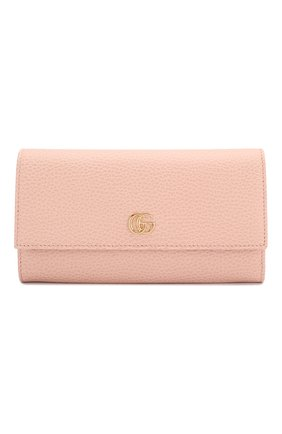 Женские кожаный кошелек gg marmont GUCCI розового цвета, арт. 456116/CA00G | Фото 1