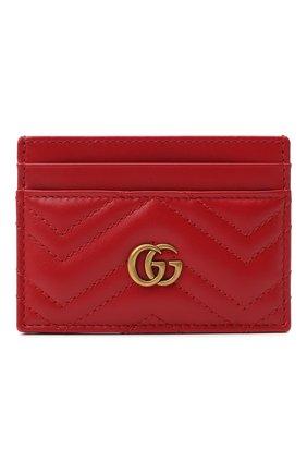 Женский кожаный футляр для кредитных карт  GUCCI красного цвета, арт. 443127/DTD1T | Фото 1