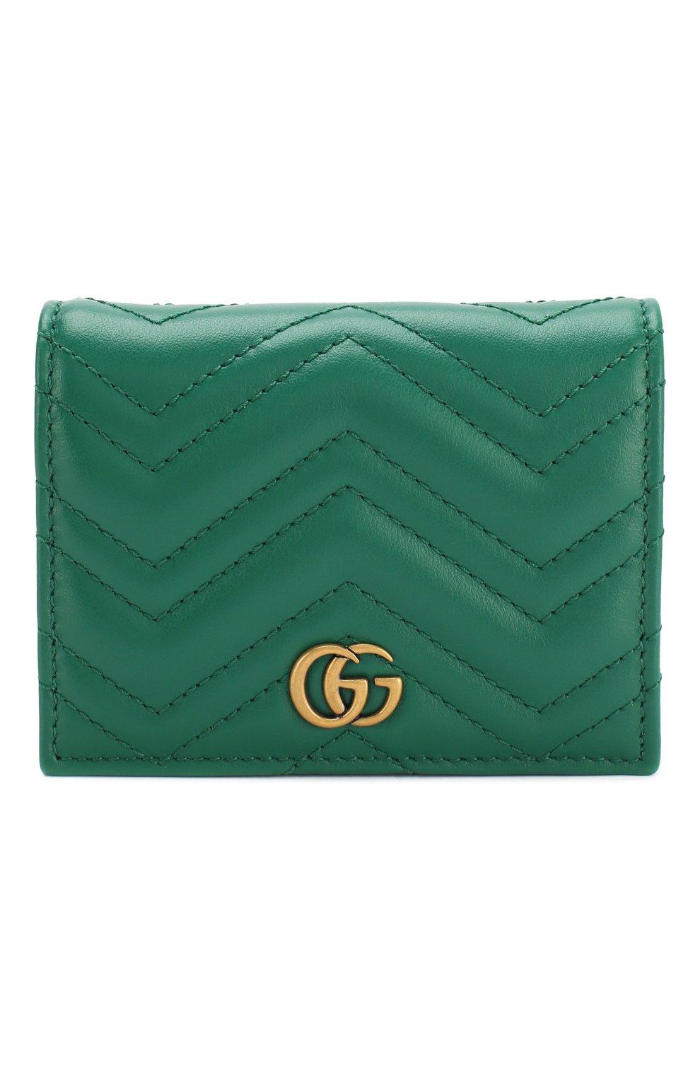 Кожаное портмоне GG Marmont Gucci зеленого цвета | Фото №1