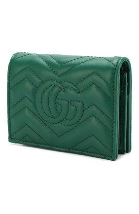 Кожаное портмоне GG Marmont Gucci зеленого цвета | Фото №2