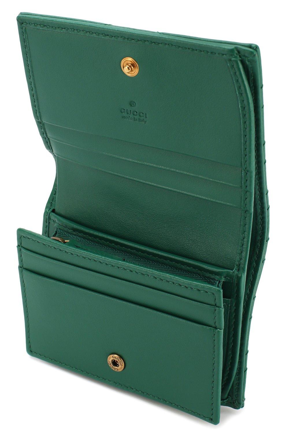 Кожаное портмоне GG Marmont Gucci зеленого цвета | Фото №3