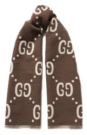 Шарф из смеси шерсти и шелка Gucci коричневый | Фото №1