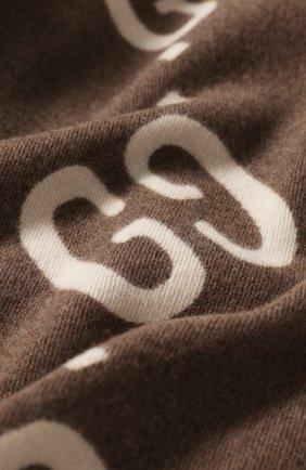 Шарф из смеси шерсти и шелка Gucci коричневый | Фото №2