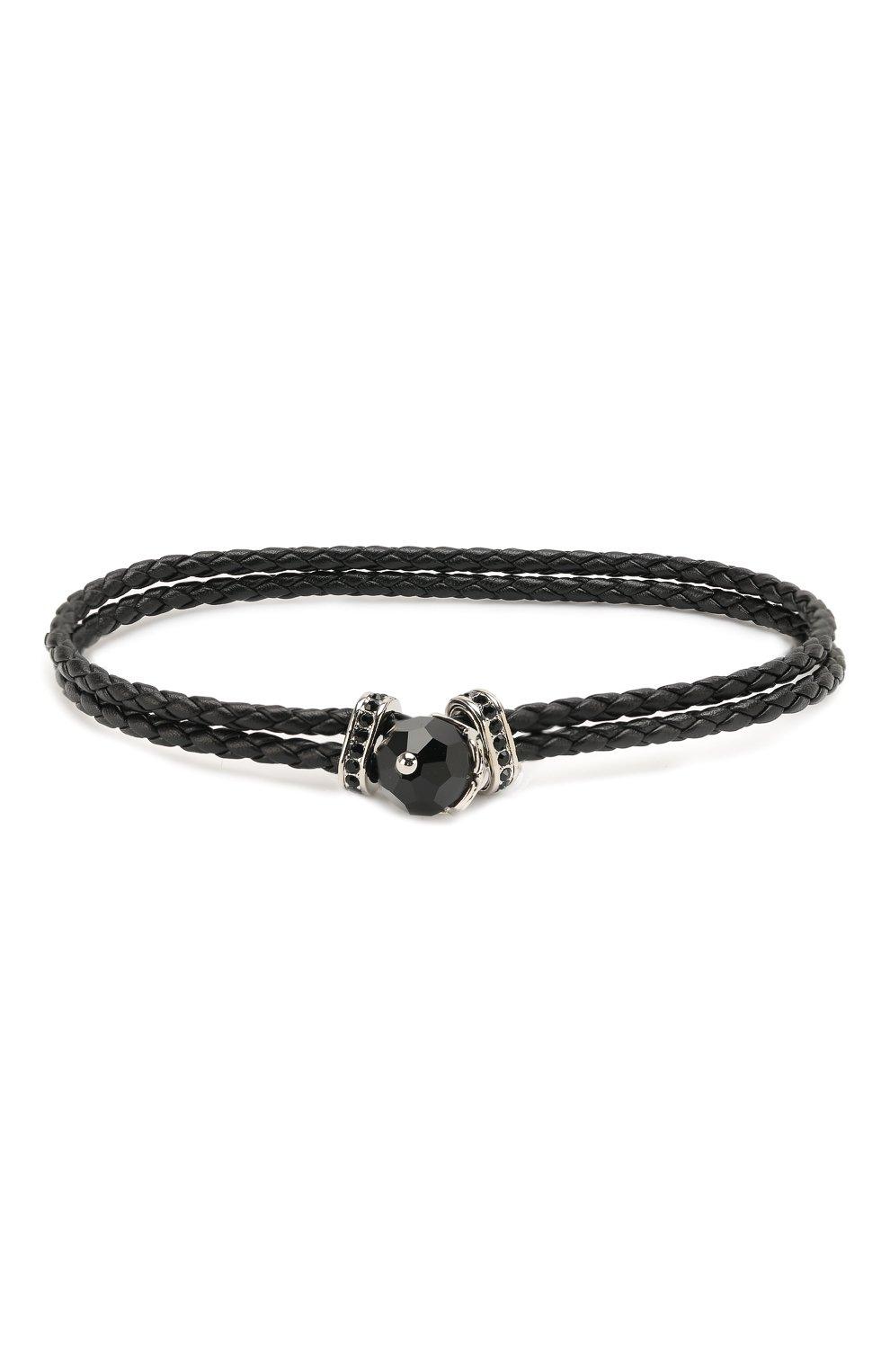 Мужской кожаный браслет taddeo SWAROVSKI черного цвета, арт. 5448905   Фото 1