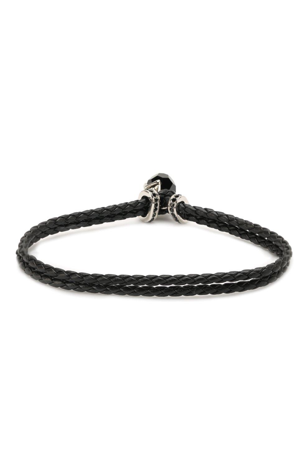 Мужской кожаный браслет taddeo SWAROVSKI черного цвета, арт. 5448905   Фото 2