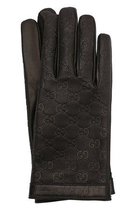 Мужские кожаные перчатки GUCCI черного цвета, арт. 434211/B6500 | Фото 1