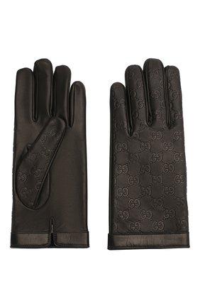 Мужские кожаные перчатки GUCCI черного цвета, арт. 434211/B6500 | Фото 2