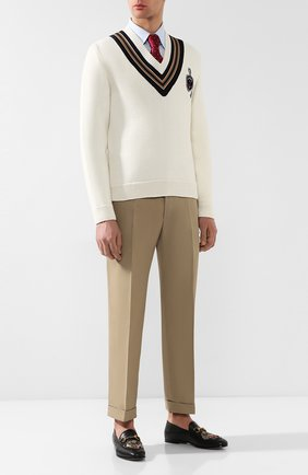 Мужской шерстяной пуловер GUCCI белого цвета, арт. 545763/XKAEA | Фото 2