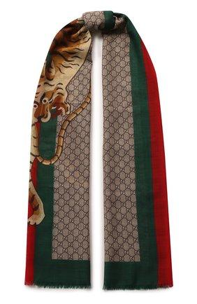 Мужской шерстяной шарф  GUCCI разноцветного цвета, арт. 495511/4G200 | Фото 1