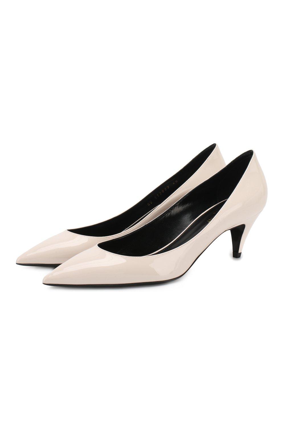 Лаковые туфли Charlotte Saint Laurent кремовые | Фото №1