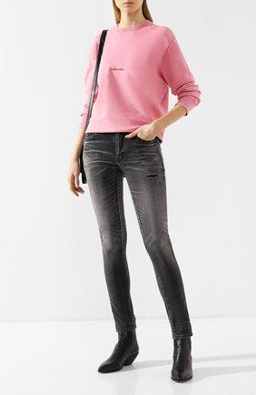 Женские джинсы с потертостями SAINT LAURENT черного цвета, арт. 542046/YT869 | Фото 2
