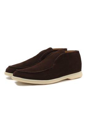 Мужские замшевые ботинки open walk LORO PIANA коричневого цвета, арт. FAB4368 | Фото 1