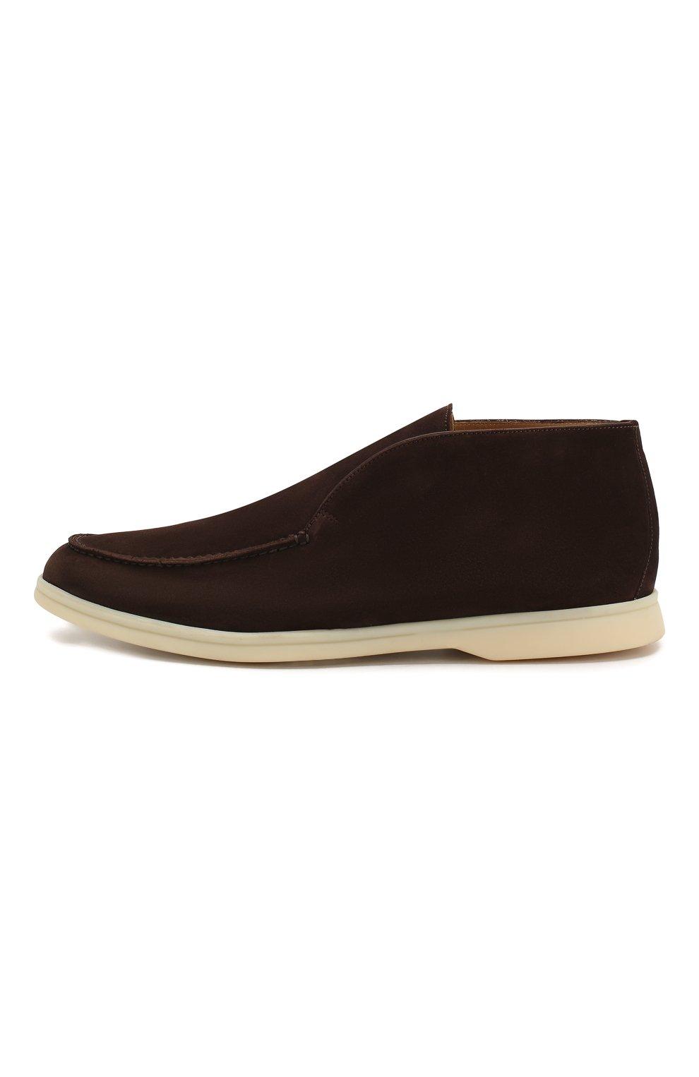 Мужские замшевые ботинки open walk LORO PIANA коричневого цвета, арт. FAB4368 | Фото 3
