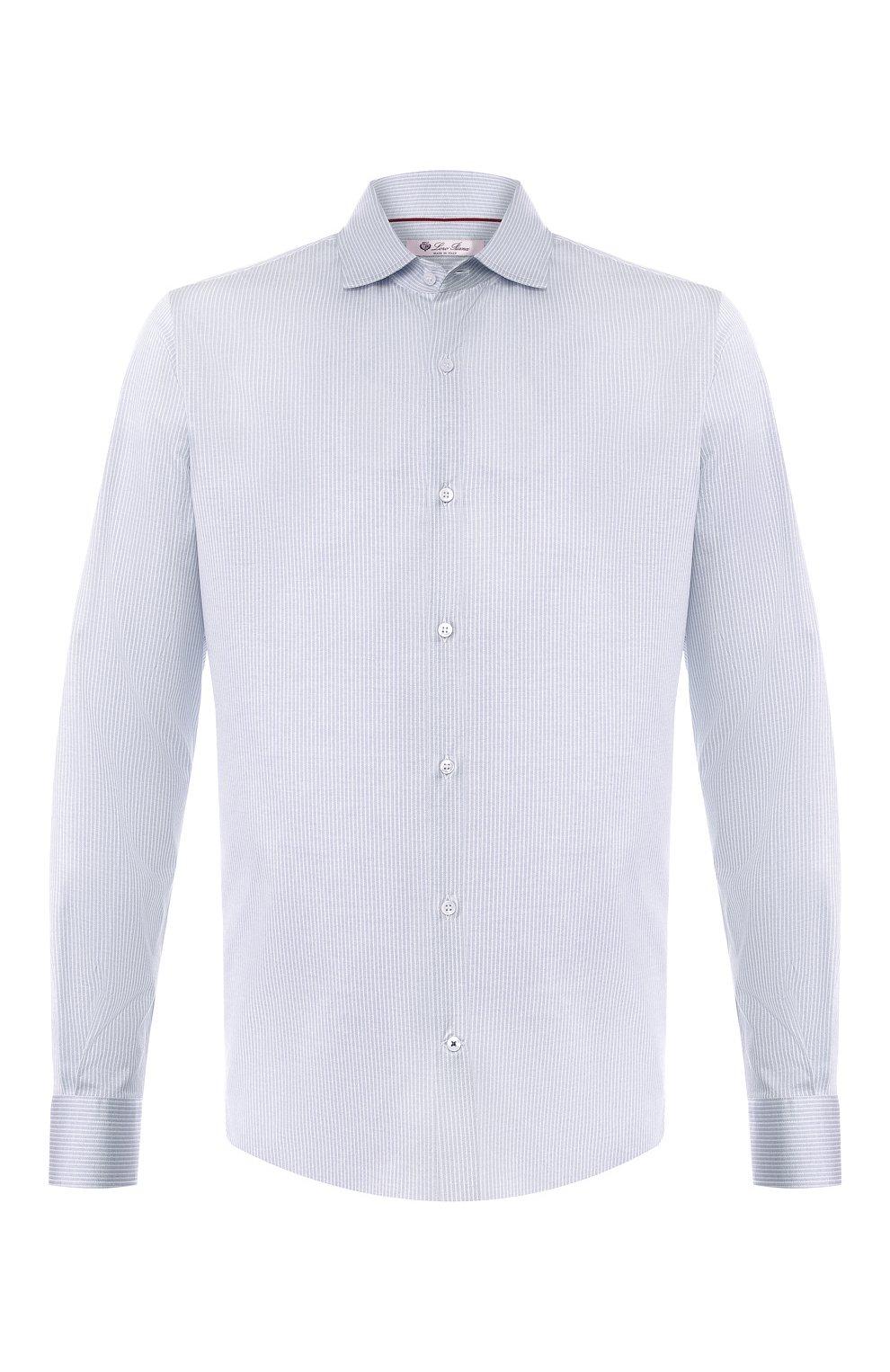 Мужская хлопковая рубашка LORO PIANA синего цвета, арт. FAI4968 | Фото 1