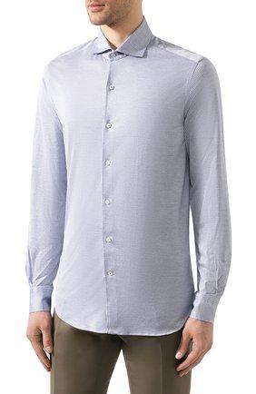 Мужская хлопковая рубашка LORO PIANA синего цвета, арт. FAI4968 | Фото 3