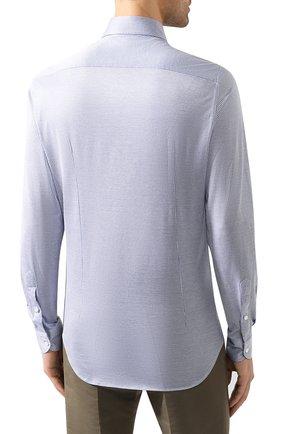 Мужская хлопковая рубашка LORO PIANA синего цвета, арт. FAI4968 | Фото 4