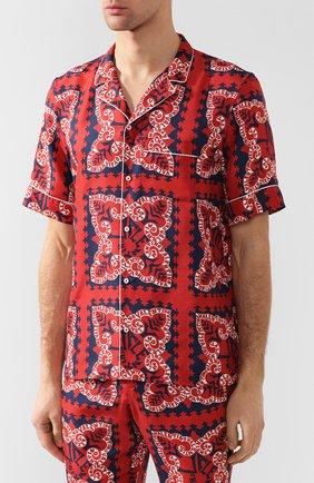 Шелковая рубашка Valentino красная | Фото №3