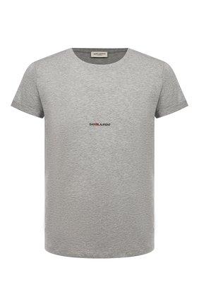 Мужская хлопковая футболка SAINT LAURENT серого цвета, арт. 464572/YB2DQ | Фото 1 (Длина (для топов): Стандартные; Материал внешний: Хлопок; Рукава: Короткие; Мужское Кросс-КТ: Футболка-одежда; Статус проверки: Проверено, Проверена категория; Принт: Без принта, С принтом; Стили: Кэжуэл)