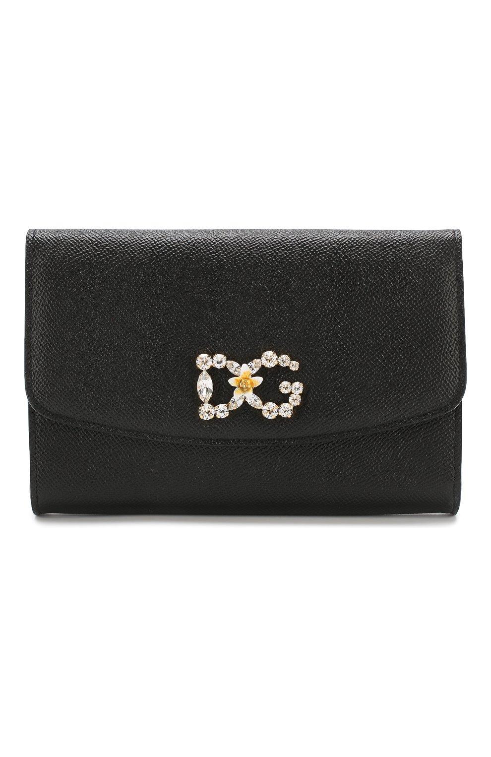 Кожаное портмоне на цепочке Dolce & Gabbana черного цвета | Фото №1