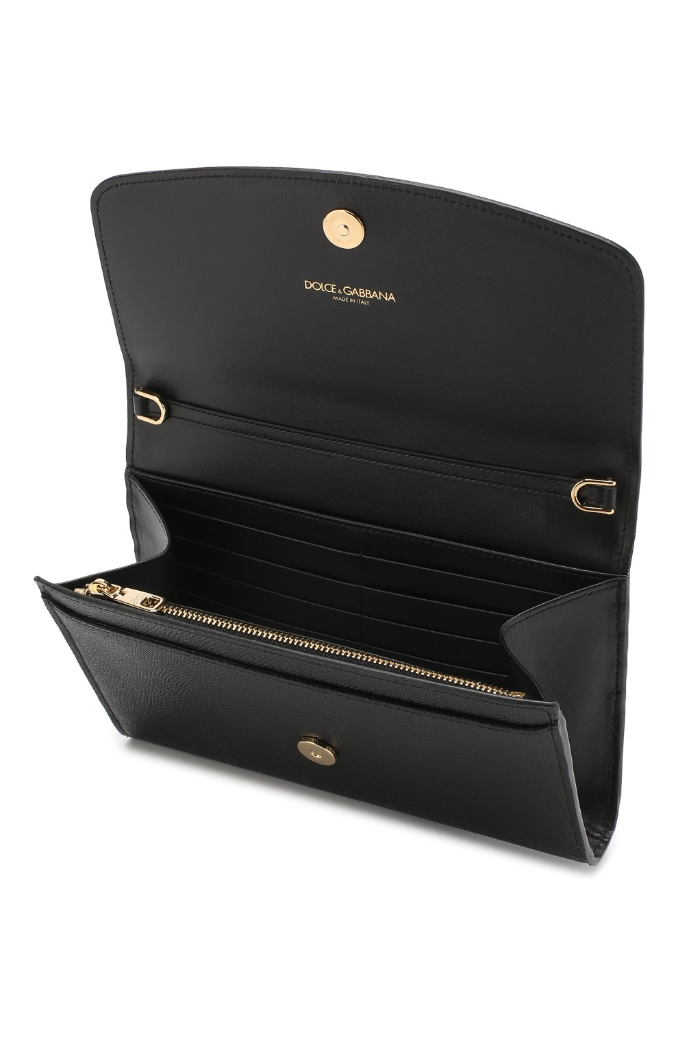Кожаное портмоне на цепочке Dolce & Gabbana черного цвета | Фото №4
