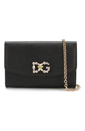 Кожаное портмоне на цепочке Dolce & Gabbana черного цвета | Фото №6