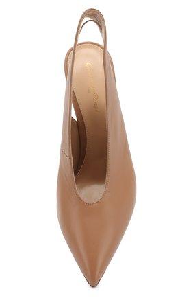 Кожаные туфли Delta 85 Gianvito Rossi бежевые | Фото №5