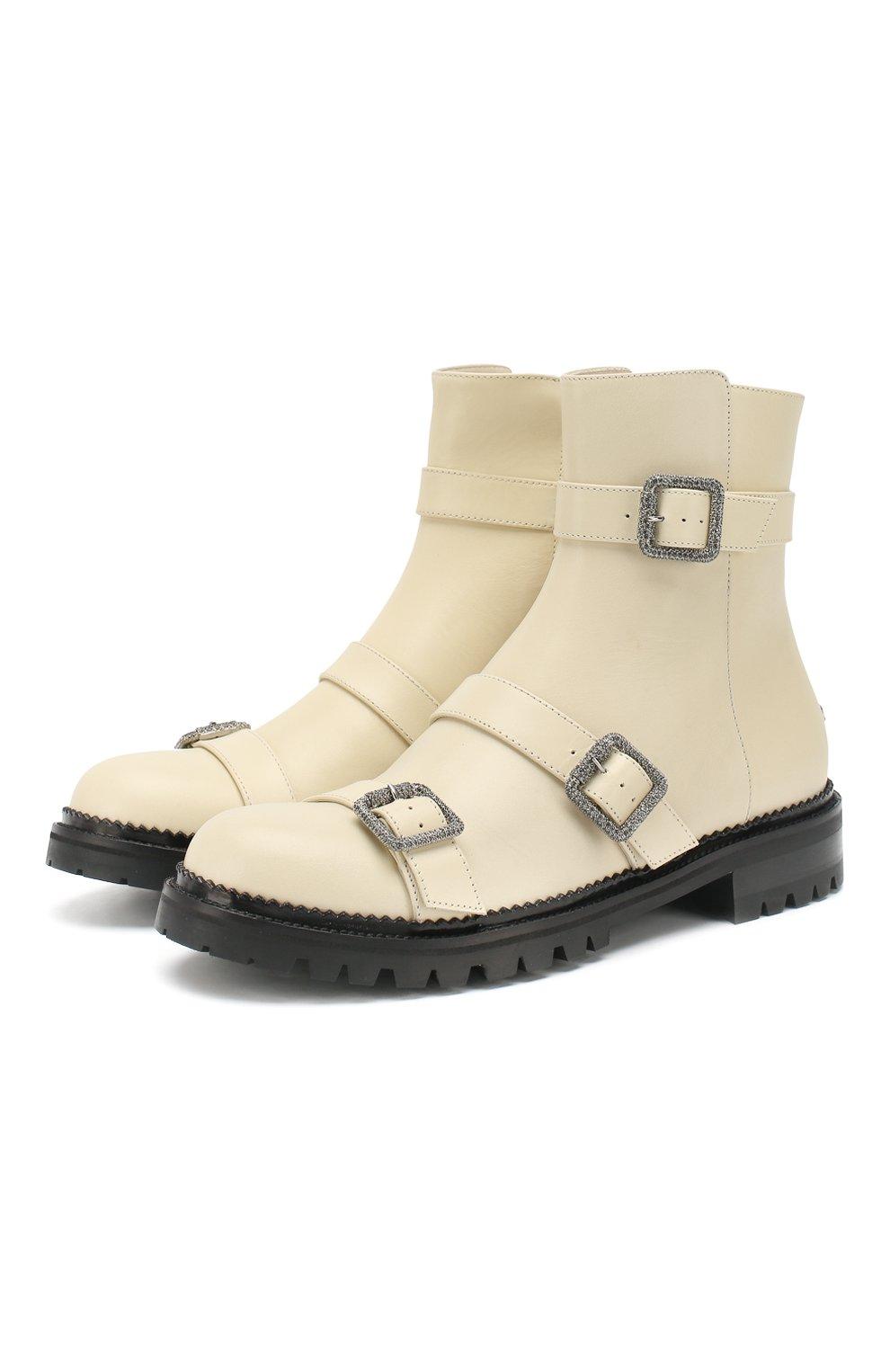 Кожаные ботинки Hank Jimmy Choo кремовые | Фото №1
