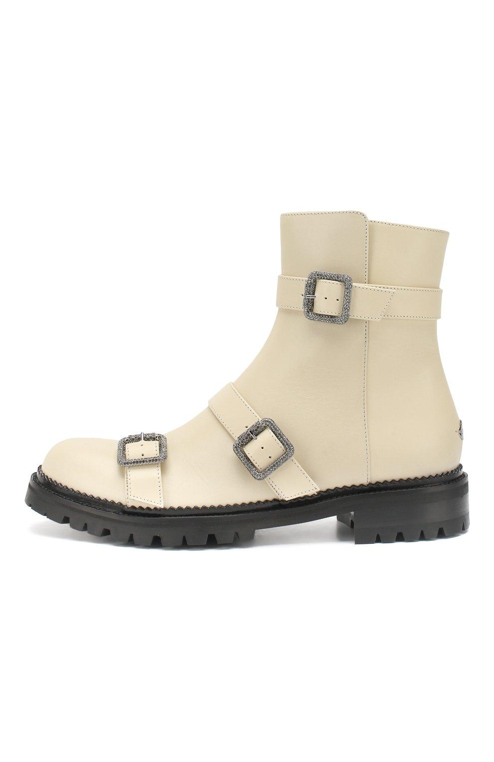 Кожаные ботинки Hank Jimmy Choo кремовые | Фото №3