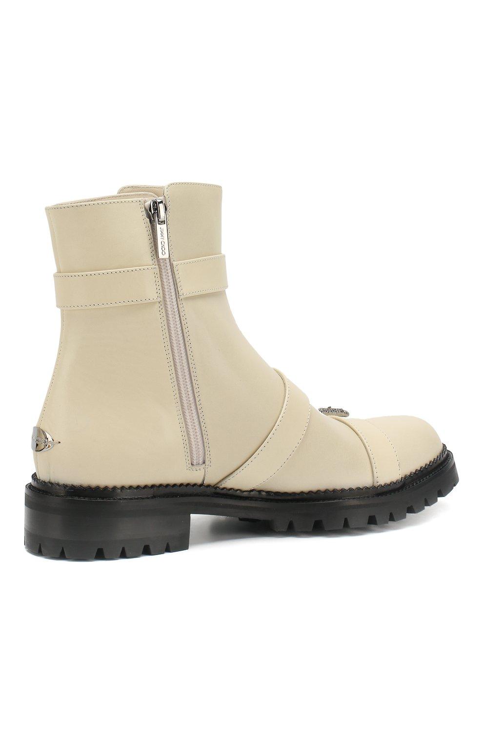 Кожаные ботинки Hank Jimmy Choo кремовые | Фото №4