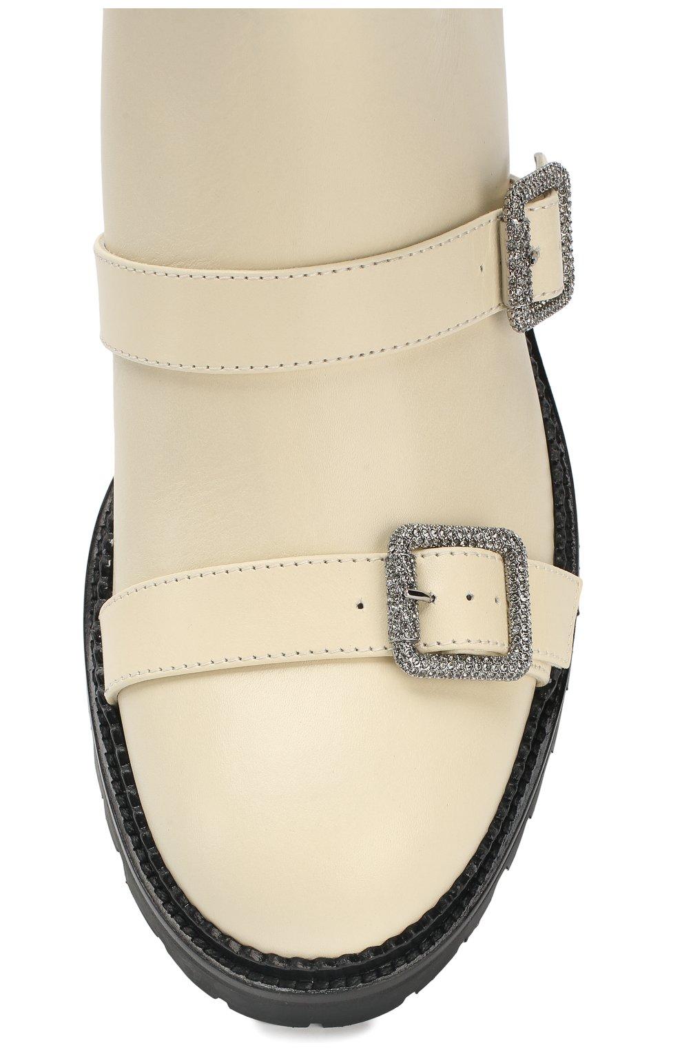 Кожаные ботинки Hank Jimmy Choo кремовые | Фото №5