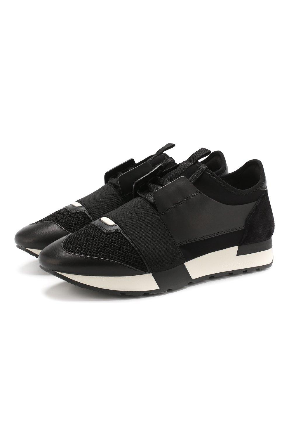 Комбинированные кроссовки Race Balenciaga черные   Фото №1