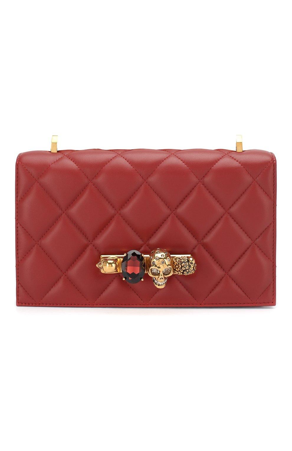 Сумка Jewelled Satchel Alexander McQueen красная цвета   Фото №1